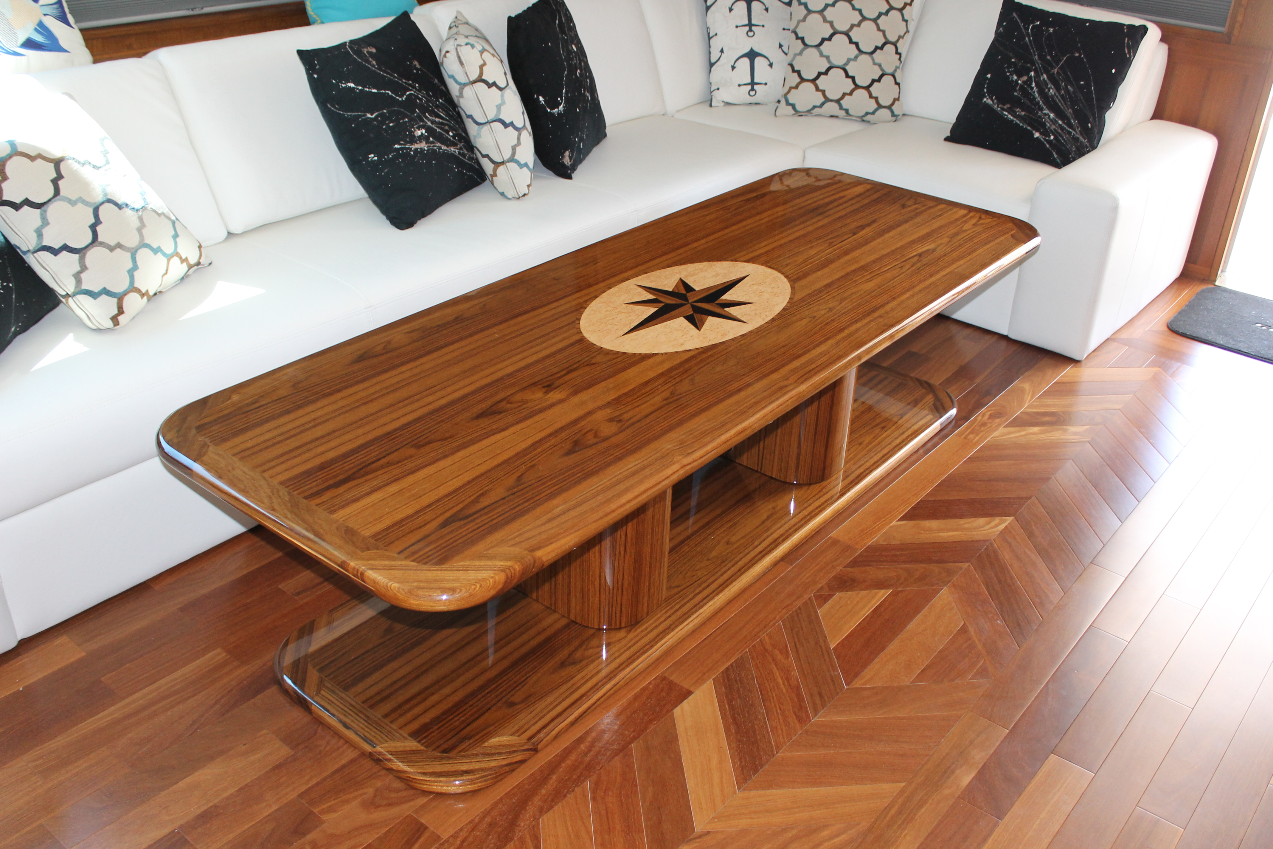 Straight Grain Salon Table with Compass Rose Inlay