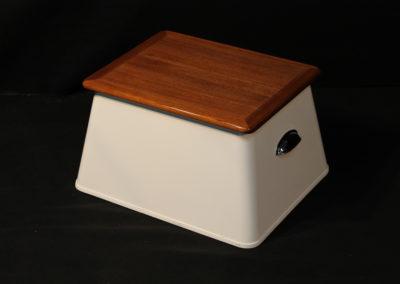 White Fiberglass Step Box w_ Teak Lid